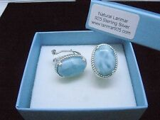 Larimar 100% Natural Vintage French Clip 10X14mm  925 Sterling Silver Earrings