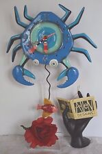 Michelle Allen Designs Whimsical Crab Clock Blue Crabby ships PRIORITY in 24 hrs