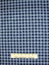 """Cotton Quilt Fabric - Red Rooster Snowy Night Blue & White Printed Plaid 25"""""""