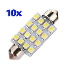 10x 42mm 16 LED Auto-Innen Weiss SMD 3528 Lichtkuppel Lampe 211-2 578 212-2 GY