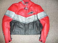 Alpinestars rojo negro US6 EU42 de señoras de cuero moto chaqueta para mujer