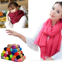 New Fashion Lady Women's Long Candy Colors Soft Cotton Scarf Wrap Shawl Scarves