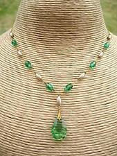 """Periodo edoardiano/DECO 'WB """"Verde Smeraldo cristallo/finta perla RG Goccia Collana"""