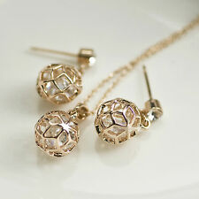 18k rose gold gf made with SWAROVSKI crystal earrings filigree ball necklace set