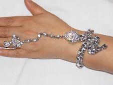 Silver Rhinestone Crystal Snake Bangle Cuff With Stretch Ring Set