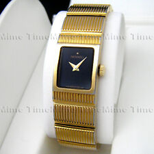 Women's Movado CONCERTO Gold Plated Square Black Dial Swiss Quartz Watch