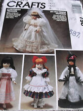 "VICTORIAN DOLL CLOTHES SEWING PATTERN M758 FOR DOLLS 13""-16"" DRESS GOWN CAPE"