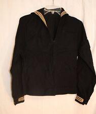 Vintage Mens SAILOR JUMPER wool blend shirt Navy Blue long Sleeved 1950s Mechani
