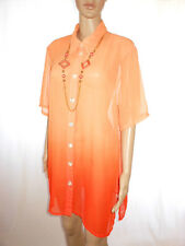 GRANDIOSA Womens Business Summer Orange Short Sleeve Shirt Blouse sz 20 22 AD80