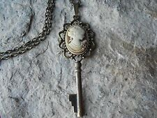 VICTORIAN WOMAN PORTRAIT (BROWN) CAMEO SKELETON KEY NECKLACE - VINTAGE LOOK