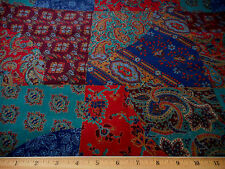Vintage Batik India 1 7/8 Yd Red Green Blue Brown Metallic Multi-Colored Cotton
