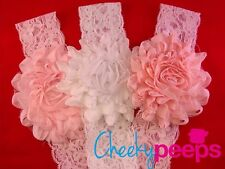 (3 Pack!) Baby Girl Cute Pink/White Soft Lace Flower Elastic Headbands Toddler