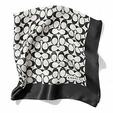 NWT Coach Sigature C Scarf 27X27 100% Silk 84270 Black White / Black