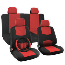 Car Seat Cover for Ford Mustang Solid Red w/Steering Wheel/Belt Pads/Head Rest