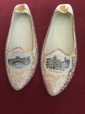 Unusual Pair of Vintage Porcelain Shoes Ashtrays,Contrasting Scenes of Venice