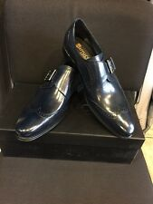 NEW CARRUCCI Wing tip Monk Strap, Men's Navy Blue Dress Leather Shoes Size 8.5