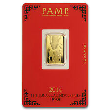5 gram Pamp Suisse Year of the Horse Gold Bar - In Assay - SKU #80094