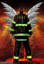 Firefighter - Fireman - Rescue  - Angel Wings Poster