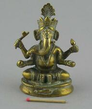 Small Antique Indian Asian Finely Cast Bronze Brass Figure Statue Ganesh Ganesha