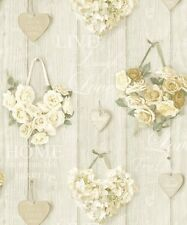 Grandeco Vintage Hearts Cream Wallpaper A14501 - Cladding Floral Rose