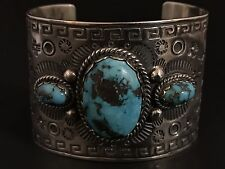 Huge Vintage Navajo Turquoise And Sterling Silver Heavy Stamp Work Cuff Bracelet