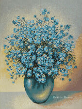 WALL JACQUARD WOVEN FLORAL TAPESTRY Forget-Me-Not Flowers EUROPEAN BLUE PICTURE