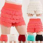 Crochet Tiered Lace Short Skirt Pants shorts Cotton Super Cute S~L L1001 Yoain