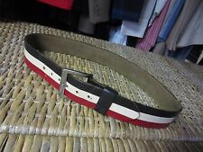 vtg 70s RED WHITE BLACK Striped Wide LEATHER BELT 30-32 mens Disco hippie Funky