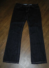 Verdo Jeans Relaxed Straight Leg Flap Pockets Men's Black Leather Jeans Sz 34X36