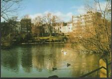 London - Hampstead , Vale of Health Pond in winter - postcard c.1980s
