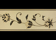 Cream,Tan and Black, Blown Vinyl Wallpaper Border   (17.5cm x 5m)