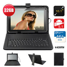 """10.1"""" Inch 32GB Android 5.1 A64 Quad Core Dual Camera Free Keyboard Tablet PC UK"""