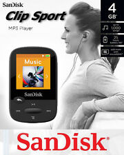 4gb Sandisk Clip Sport Mp3 player sdmx24k-004g with MicroSDHC memory slot black