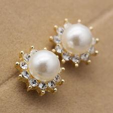 Women Earrings Sun Flower Pearl&Crystal Rhinestone Ear Stud Earrings Party Gift