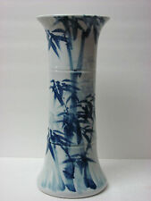 Fine Chinese Blue and White Paint bamboo design Porcelain Vase with artist sign