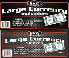 15 Large Bill Currency Top Load Rigid Holders plus 15 Dollar Sleeves - Toploader