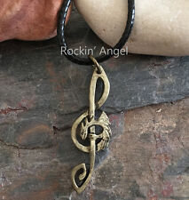 Vintage Bronze Plt Dragon Treble Clef Music Pendant  Necklace ladies Mens Gift