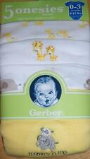 Gerber 5pk Short Sleeve Neutral Onesies, Baby Shower, Safari Theme, 0-3 Months