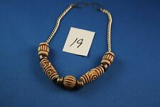 Silver Necklace with gold tan & ivory colored beads  12 inches   (19)