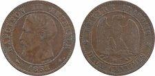 2 centimes tête nue, 1855 Strasbourg, bronze, chien  - 115