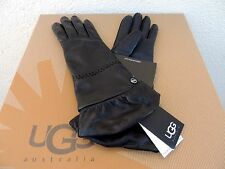 UGG TECH RUCHED BLACK LEATHER/ CASHMERE TOUCH SCREEN SMART GLOVES ~ L ~ NWT