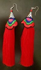 EARRINGS NEW BOHO RED LONG TASSEL CUTE PARTY GIFT NWT VALENTINES DAY DEAL