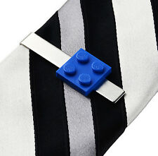 Blue LEGO (R) Tie Clip - Tie Bar - Clasps - Business Gift - Handmade - Gift Box