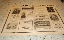 1939 Dodge County WI County Fair Poster Demolition Derby, Car Racing