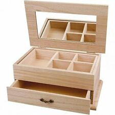 Plain Wooden Jewellery Box Large - Mirror Drawer - Decorate Personalise Paint