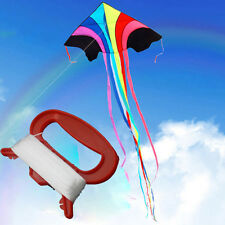 100m D Shape Flying Kite Line String Winder Handle Outdoor Board Children Kite