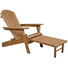 Outdoor Wood Chair Folding Garden Deck Adirondack w/Pull Out Ottoman Furniture