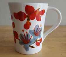 Starbucks Mug Red-Aqua Turquoise Flower 12 oz Cup 2008