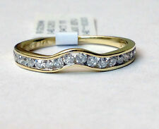 Yellow Gold Channel Set 1/3ct Diamonds Solitaire Wrap Ring Enhancer Contour Band