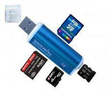Blau Mini Aluminium Kartenleser USB 2.0 Micro SD MMC SDHC M2 Card Reader Adapter